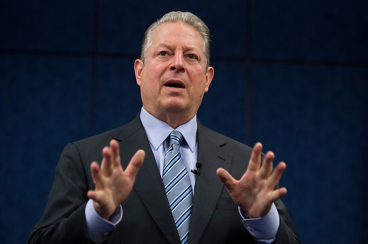 UNITED STATES - JUNE 11: Former Vice President Al Gore delivers a speech about the environment during the Fourth Annual Rhode Island Energy and Environmental Leaders Day held in the Capitol Visitor Center. (Photo By Tom Williams/CQ Roll Call)