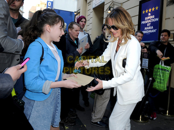 Amanda Holden.'Merrily We Roll Along' Press Night at the Harold Pinter Theatre, London, England..May 1st 2013.half length white suit sunglasses shades black side profile fans signing autographs .CAP/GM/PP.©Gary Mitchell/PP/Capital Pictures.