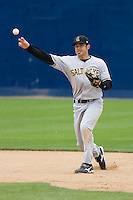June 1, 2008: Salt Lake Bees shortstop Gary Patchett makes a throw to first base during a Pacific Coast League game against the Tacoma Rainiers at Cheney Stadium in Tacoma, Washington.