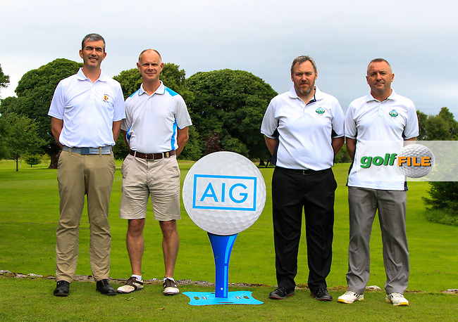 Ted O'Brien &amp; Brian O'Looney (Athlone) and John Tierney &amp; Michael O'Dell (Gort) on the 1st tee during the AIG Connacht Pierce Purcell Shield Semi-Finals of the AIG Connacht Cups &amp; Shields Finals 2016 at Ballinrobe Golf Club, Ballinrobe Co. Mayo on Saturday 6th August 2016.<br /> Picture:  Golffile | Thos Caffrey<br /> <br /> All photos usage must carry mandatory copyright credit   (&copy; Golffile | Thos Caffrey)