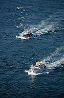 Europe/France/Aquitaine/33/Gironde/Bassin d'Arcachon: Bateaux de pêches en mer - Vue aérienne