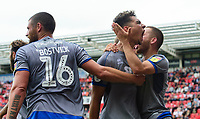 Lincoln City's Tyler Walker, centre, celebrates scoring the opening goal with team-mates Michael Bostwick, left, Jack Payne<br /> <br /> Photographer Chris Vaughan/CameraSport<br /> <br /> The EFL Sky Bet Championship - Rotherham United v Lincoln City - Saturday 10th August 2019 - New York Stadium - Rotherham<br /> <br /> World Copyright © 2019 CameraSport. All rights reserved. 43 Linden Ave. Countesthorpe. Leicester. England. LE8 5PG - Tel: +44 (0) 116 277 4147 - admin@camerasport.com - www.camerasport.com