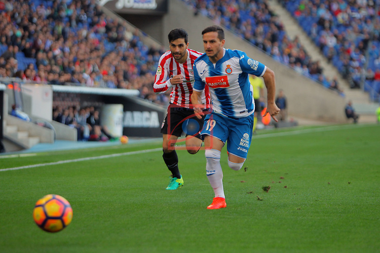 League Santander 2016/2017. Game: 11.<br /> RCD Espanyol vs Athletic Club: 0-0.<br /> Eneko Boveda vs Pablo Piatti.