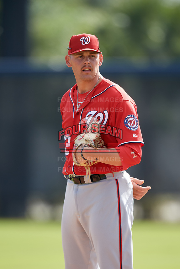 Washington Nationals pitcher Gabe Klobosits (62) doing pitching drills before a Minor League Spring Training game against the Miami Marlins on March 28, 2018 at FITTEAM Ballpark of the Palm Beaches in West Palm Beach, Florida.  (Mike Janes/Four Seam Images)