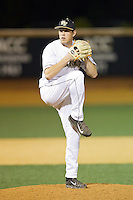 Wake Forest Demon Deacons relief pitcher Max Tishman (34) in action against the High Point Panthers at Wake Forest Baseball Park on April 2, 2014 in Winston-Salem, North Carolina.  The Demon Deacons defeated the Panthers 10-6.  (Brian Westerholt/Four Seam Images)
