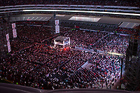 June 27, 2018: Andres Manuel Lopez Obrador, the opposition candidate of MORENA party running for presidency, gives a speech to supporters during his closing campaign rally at the Azteca stadium, the country's largest soccer stadium, in Mexico City, Mexico. National elections will be hold on July 1.