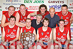 The St Mary's team celebrate after they defeated Titans (Dublin) in the final of the Premier men at the Castleisland basketball blitz on Friday front row l-r: Paudie Fleming, Declan Wall, Declan Cahill, Seamu Brosnan. Back row Michael Broderick, Saulius Marcinkevicius, Vincent Barry, Anfrew Fitzgerald, Dave Falvey and Declan Culhane....................