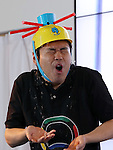 "June 9, 2016, Tokyo, Japan - Japanese comedian Hiroshi Shinagawa displays a party game ""Russian Nulet"" at the annual Tokyo Toy Show in Tokyo on Thursday, June 9, 2016. Some 160,000 people are expecting to visit the four-day toy trade show.   (Photo by Yoshio Tsunoda/AFLO) LWX -ytd-"