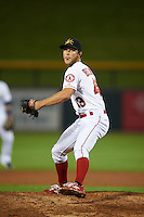 Mesa Solar Sox pitcher Alan Busenitz (43) delivers a pitch during an Arizona Fall League game against the Salt River Rafters on October 23, 2015 at Sloan Park in Mesa, Arizona.  Salt River defeated Mesa 5-1.  (Mike Janes/Four Seam Images)