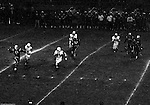 Bethel Park PA:  Offensive play with Mike Stewart 11 throwing a pass to Gary Biro 81 during the last drive to win the game. Others in the photo; Bob Hensler 77, Chip Huggins 32, Glenn Eisaman 71.  Uniontown was coached by long-term Upper St Clair Coach Jim Render and big time college and pro running back Chuck Muncie.  The offense and defense played well enough to win 21-14.  This was the most points given by the defense all year.  The defensive unit was one of the best in Bethel Park history only allowing a little over 7 points a game.