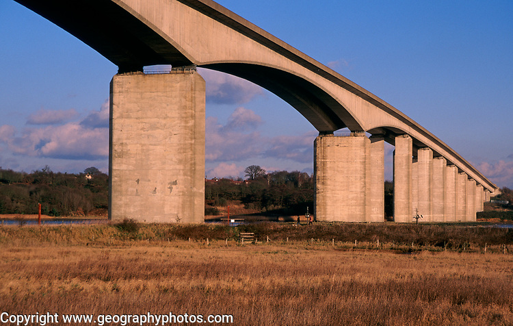A753RE Orwell bridge concrete support columns Suffolk England