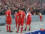 14.04.2018, OLympiastadion, Berlin, GER, 1.FBL, Hertha BSC VS. 1.FC Koeln, im Bild <br /> Spieler in der Koelnerfankurve<br /> Frederik Soerensen (1.FC Koeln #4), Leonardo Bittencourt (1.FC Koeln #21), Dominique Heintz (1.FC Koeln #3), Marcel Risse (1.FC Koeln #7), Marcel Risse (1.FC Koeln #7)<br /> <br /> <br />       <br /> Foto &copy; nordphoto / Engler