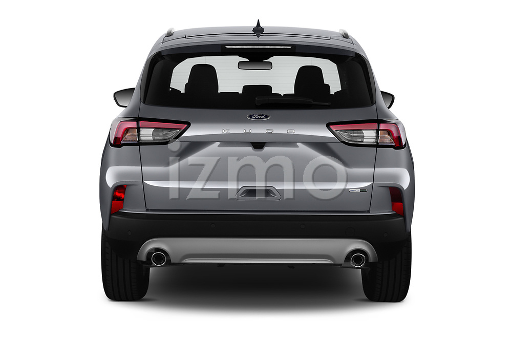 Straight rear view of 2020 Ford Kuga Titanium 5 Door SUV Rear View  stock images