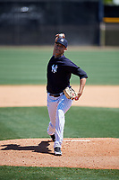 New York Yankees pitcher Freicer Perez (84) during a Minor League Spring Training game against the Detroit Tigers on March 21, 2018 at the New York Yankees Minor League Complex in Tampa, Florida.  (Mike Janes/Four Seam Images)
