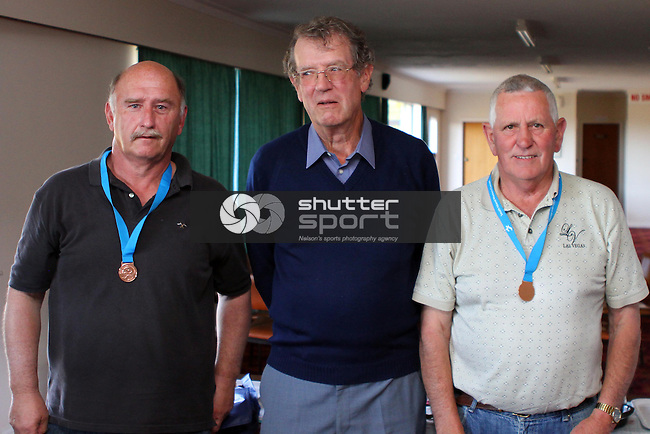 Div 1 bronze medallists Maurice Dodsworth &amp; Barry Chinnery with Bowls Nelson president Paul Marshall. Lawn Bowls ,SI Masters Games, 20 October 2011, Nelson, New Zealand<br /> Photo: Marc Palmano/shuttersport.co.nz