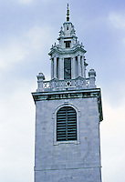 Sir Christopher Wren: St. James Garlickhythe, London. Detail of steeple.