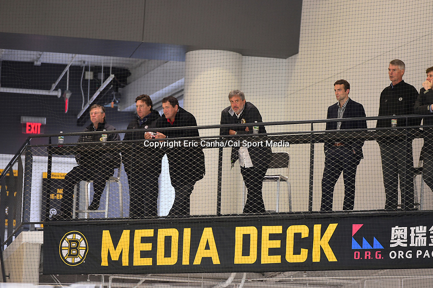 September 15, 2017: Boston Bruins president Cam Neely (4th from left) watches the Boston Bruins training camp held at Warrior Ice Arena in Brighton, Massachusetts. Eric Canha/CSM