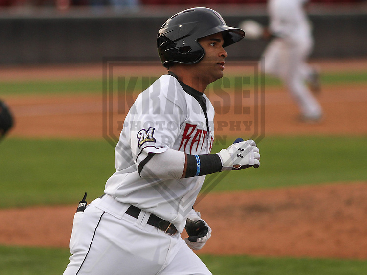 Wisconsin Timber Rattlers third baseman Sthervin Matos (9) during a game against the Cedar Rapids Kernels on May 4th, 2015 at Fox Cities Stadium in Appleton, Wisconsin.  Cedar Rapids defeated Wisconsin 9-3.  (Brad Krause/Krause Sports Photography)