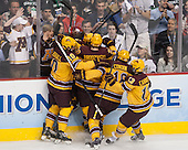 Ben Marshall (MN - 10), Justin Kloos (MN - 25), Michael Brodzinski (MN - 20), Nate Condon (MN - 16) and Taylor Cammarata (MN - 13) celebrate Kloos' goal. - The Union College Dutchmen defeated the University of Minnesota Golden Gophers 7-4 to win the 2014 NCAA D1 men's national championship on Saturday, April 12, 2014, at the Wells Fargo Center in Philadelphia, Pennsylvania.