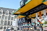 Bora-Hansgrohe team on stage outside Le Palais des Princes-&Eacute;v&ecirc;ques at the team presentation before the 104th edition of La Doyenne, Liege-Bastogne-Liege 2018, Belgium. 21st April 2018.<br /> Picture: ASO/Karen Edwards | Cyclefile<br /> <br /> <br /> All photos usage must carry mandatory copyright credit (&copy; Cyclefile | ASO/Karen Edwards)
