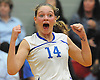 Madison Gale #14 of Kellenberg reacts after her varsity girls volleyball team's 3-0 win over host Sacred Heart Academy on Tuesday, Oct. 4, 2016.