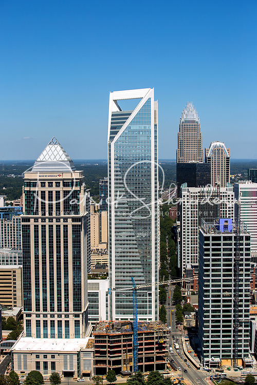 Aerial photography of the Charlotte, North Carolina skyline. The skyline views of Bank of America Corporate Center, Duke Energy Center, Bank of America Stadium, Legacy Union and the Charlotte Knights Baseball Stadium.<br /> <br /> Charlotte Photographer - PatrickSchneiderPhoto.com