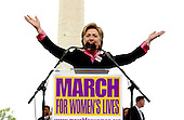 """United States Senator Hillary Rodham Clinton (Democrat of New York) speaks at the """"March for Women's Lives"""" in Washington, DC on April 25, 2004..Credit: Ron Sachs / CNP"""