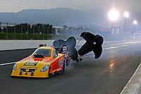 Nov 14, 2014; Pomona, CA, USA; NHRA funny car driver Bob Bode during qualifying for the Auto Club Finals at Auto Club Raceway at Pomona. Mandatory Credit: Mark J. Rebilas-USA TODAY Sports