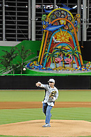 7 March 2012:  Former FIU baseball player Tony Arguiz throws out the first pitch before the start of the exhibition game.  The Miami Marlins defeated the FIU Golden Panthers, 5-1, at Marlins Park in Miami, Florida.