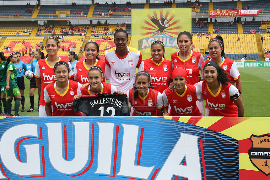 BOGOTA -COLOMBIA, 19-02-2017.Independiente Santa Fe women's team professional soccer.  Action game between  La Equidad and Independiente Santa Fe  during match for the date 1 of the Women´s  Aguila League I 2017 played at Nemesio Camacho El Campin stadium . Photo:VizzorImage / Felipe Caicedo  / Staff