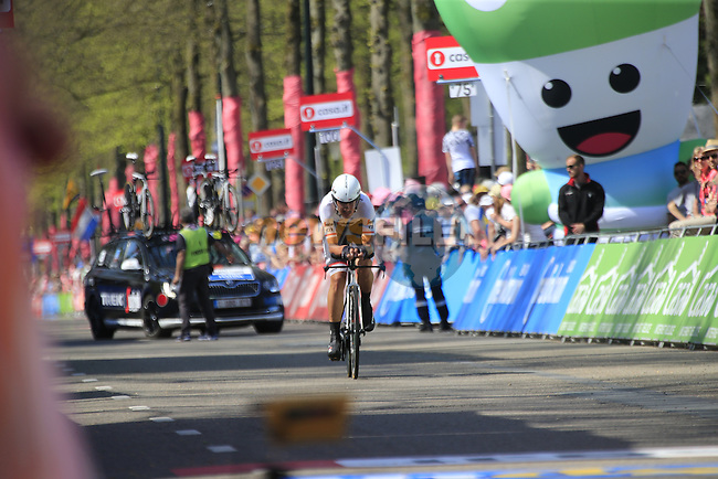 Eugenio Alafaci (ITA) Trek-Segafredo approaches the finish line of Stage 1 of the 2016 Giro d'Italia, an individual time trial of 9.8km around Apeldoorn, The Nethrerlands. 6th May 2016.<br /> Picture: Eoin Clarke | Newsfile<br /> <br /> <br /> All photos usage must carry mandatory copyright credit (&copy; Newsfile | Eoin Clarke)