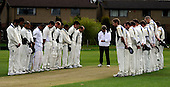 Scottish National Cricket League, Premier Div - Dunfermline CC V Aberdeenshire CC, at McKane Park, Dunfermline - the first full ficture card matches of the SNCL began across Scotland with a minutes silence for former Cricket Scotland President Mahindra Patel, who passed away on Thursday - here Dunfermline (left, last years Div 1 Champions) stand with Aberdeenshire (last years Prem Div Champions), with Umpire Brian Papworth (centre) maintaining time - Picture by Donald MacLeod 25.04.10 - mobile 07702 319 738