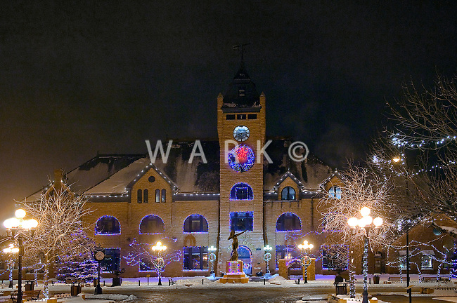 Union Depot in winter fog on snowy night