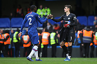 Antonio Rudiger of Chelsea shakes hands with Chelsea goalkeeper, Kepa Arrizabalaga at the final whistle during Chelsea vs Everton, Premier League Football at Stamford Bridge on 8th March 2020