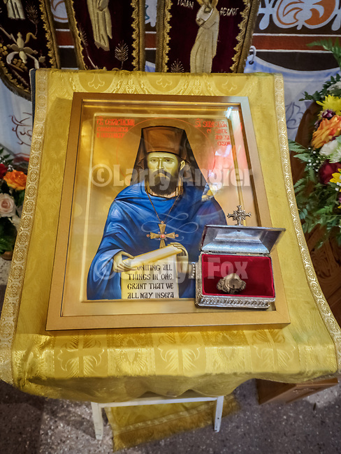 Icon and relics of St. Sebastian of Jackson and San Francisco presented during the canonization. St. Sebastian and St. Mardarije were both proclaimed saints together in 2015 for their pioneering work to minister to the diaspora and serve the faithful Orthodox Chirstian in North America in the late 19th and early 20th century.<br /> <br /> Patriarchal Divine Liturgy service with His Holiness Irinej to venerate and glorify the relics of St. Mardarije of Libertyville, St. Sava Monastery Church<br /> <br /> #NGMWADiocese<br /> #GlorificationStMardarije, #Chicago, #PatriarchIrinej, #MetropolitanAmphiloije<br /> #SerbianOrthodoxChurch<br /> #www.stsavamonastery.org