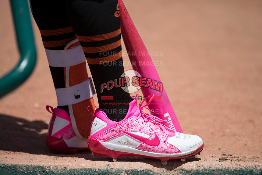 San Jose Giants left fielder Jacob Heyward (33) wears Mother's Day gear during a California League game against the Lancaster JetHawks at San Jose Municipal Stadium on May 13, 2018 in San Jose, California. San Jose defeated Lancaster 3-0. (Zachary Lucy/Four Seam Images)