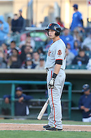 Austin Slater (10) of the San Jose Giants bats during a game against the Lancaster JetHawks at The Hanger on April 11, 2015 in Lancaster, California. San Jose defeated Lancaster, 8-3. (Larry Goren/Four Seam Images)