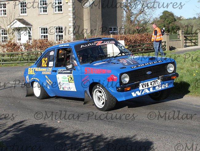 David Walsh - Martin Lynch in a Ford Escort at Junction 11 on Special Stage 6 Bucks Head on the Discover Northern Ireland Circuit of Ireland Rally which was a constituent round of  the FIA European Rally Championship, the FIA Junior European Rally Championship, the Clonakilty Irish Tarmac Rally Championship, and the MSA ANICC Northern Ireland Stage Rally Championships which took place on 18.4.14 and 19.4.14 and was based in Belfast.