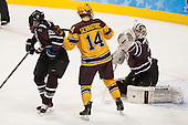 Mat Bodie (Union - 22), Tom Serratorre (MN - 14), Colin Stevens (Union - 30) - The Union College Dutchmen defeated the University of Minnesota Golden Gophers 7-4 to win the 2014 NCAA D1 men's national championship on Saturday, April 12, 2014, at the Wells Fargo Center in Philadelphia, Pennsylvania.