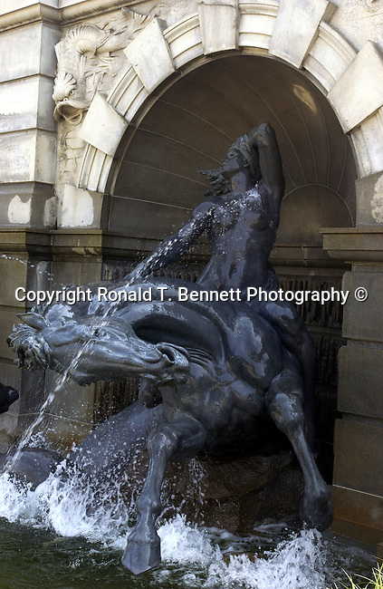Fountain of Horse and rider statue Library of Congress Washington DC,  Library of Congress, research library, research library of the United States Congress, Washington D.C., United States Capitol, Library of Congress was established by Congress in 1800, Congressional Research Service, American Folklife Center, American Memory, Center for the Book, Poet Laureate, Library does not publicly circulate, President John Adams signed an Act of Congress, Thomas Jefferson, Ron Bennett Photography, Ronald T. Bennett Photography, Fine Art Photography by Ron Bennett, Fine Art, Fine Art photo, Art Photography,