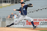 The Mobile BayBears pitcher Trevor Bauer #19 delivers a pitch during  game four of the Southern League Championship Series between the Mobile Bay Bears and the Tennessee Smokies at Smokies Park on September 18, 2011 in Kodak, Tennessee.  The BayBears won the Southern League Championship 6-4.  (Tony Farlow/Four Seam Images)