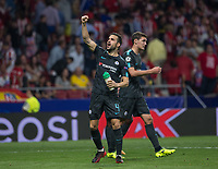 Chelsea´s midfielder Cesc Fabregas celebrating during the UEFA Champions League group C match between Atletico Madrid and Chelsea played at the Wanda Metropolitano Stadium in Madrid, on September 27th 2017.