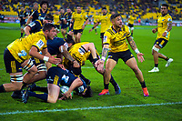 Hurricanes' TJ Perenara appeals to the touchjudge during the Super Rugby match between the Hurricanes and Highlanders at Westpac Stadium in Wellington, New Zealand on Friday, 1 March 2019. Photo: Dave Lintott / lintottphoto.co.nz