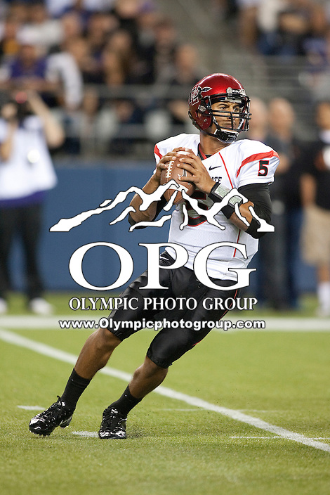 Sept 01, 2012:  San Diego State's Ryan Katz against Washington.  Washington defeated San Diego State 21-12 at CenturyLink Field in Seattle, Washington...
