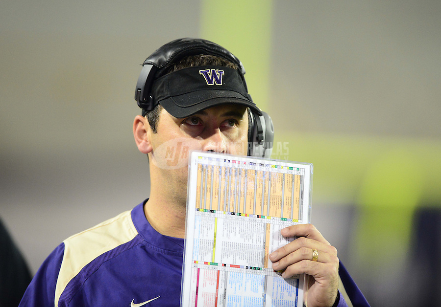 Oct. 20, 2012; Tucson, AZ, USA; Washington Huskies head coach Steve Sarkisian against the Arizona Wildcats at Arizona Stadium. Arizona defeated Washington 52-17. Mandatory Credit: Mark J. Rebilas-USA TODAY Sports