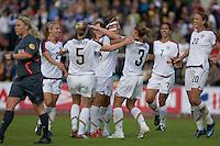 USA team celebrates Carli Lloyd's goal during the match against Sweden, Landskamp, Sweden, July 5th, 2008..