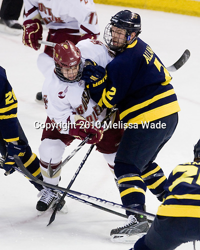 Cam Atkinson (BC - 13), Fraser Allan (Merrimack - 2) - The Boston College Eagles defeated the Merrimack College Warriors 7-0 on Tuesday, February 23, 2010 at Conte Forum in Chestnut Hill, Massachusetts.