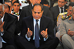 Egyptian President Abdel Fattah al-Sisi performs the morning prayer of Eid al-Fitr holiday which marks the end of the Muslim holy month of Ramadan, in Cairo, Egypt, on June 25, 2017. Photo by Egyptian President Office