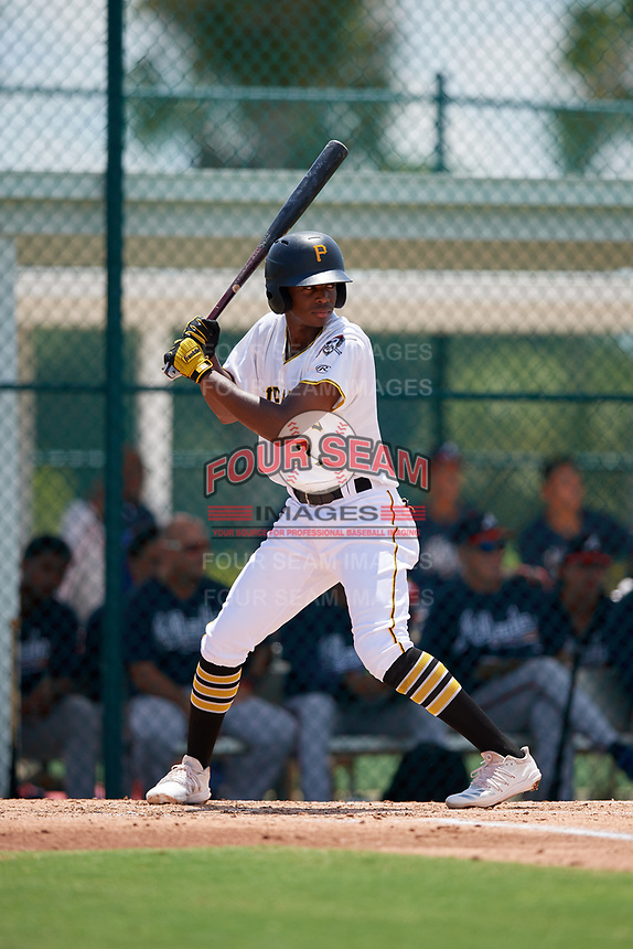 GCL Pirates Norkis Marcos (3) bats during a Gulf Coast League game against the GCL Braves on July 30, 2019 at Pirate City in Bradenton, Florida.  GCL Braves defeated the GCL Pirates 10-4.  (Mike Janes/Four Seam Images)