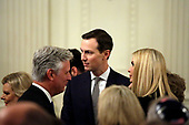 White House Adviser Jared Kushner attends a meeting with United States President Donald J. Trump and Israel's Prime Minister Benjamin Netanyahu in the East Room of the White House in Washington, D.C.,on Tuesday, January 28, 2020. Credit: Joshua Lott / CNP